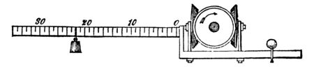 Dynamometer Balance which an apparatus for measuring the amount of force expended by men, vintage line drawing or engraving illustration.