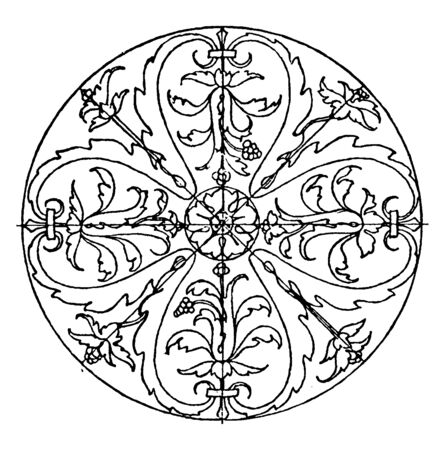 Renaissance Circular Panel is a bas-relief design, its found on a tomb in Venice, vintage line drawing or engraving illustration.