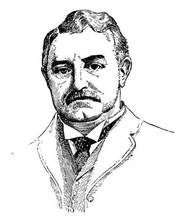 Cecil Rhodes, 1853-1902, he was a British businessman, mining magnate, politician and prime minister of the Cape Colony, vintage line drawing or engraving illustration