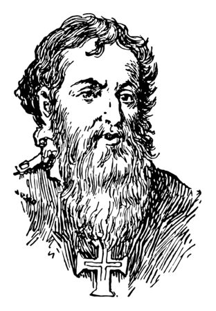 Prince Henry the Navigator, 1394-1460, he was a fifteenth century Portuguese prince, famous for his patronage of voyages of discovery among the Madeira Islands and along the western coast of Africa, vintage line drawing or engraving illustration  イラスト・ベクター素材