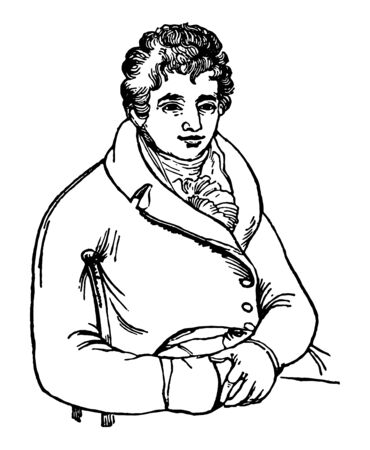 Robert Fulton, 1765-1815, he was an American engineer and inventor, famous for developing the first commercially successful steamboat called The North River Steamboat of Claremont, vintage line drawing or engraving illustration