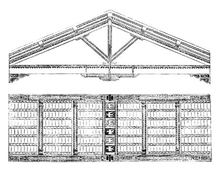 Profile of San Miniato al Monte, view from beneath of the Rafters, the Christian Basilica of San Miniato at Florence, vintage line drawing or engraving illustration.