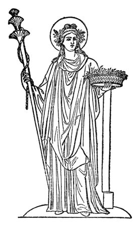 In this image see the Greek goddess of agriculture, vintage line drawing or engraving illustration. Illustration