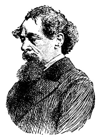 Charles Dickens, 1812-1870, he was an English writer and social critic, one of the most popular English novelists of the Victorian era as well as a vigorous social campaigner, vintage line drawing or engraving illustration Иллюстрация