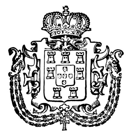 Portuguese Coat of Arms is a European coat, vintage line drawing or engraving illustration.