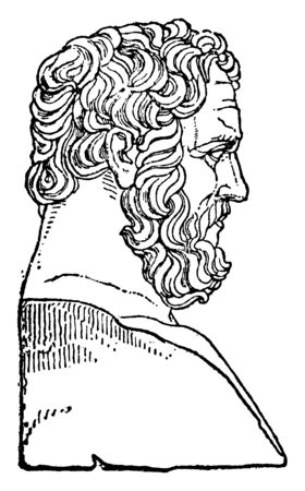 Bias, he was a Greek sage and one of the seven sages of Greece, vintage line drawing or engraving illustration