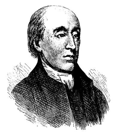 James Hutton, M.D., he was a Scottish geologist, physician, chemical manufacturer, naturalist, and experimental agriculturalist, vintage line drawing or engraving illustration 向量圖像