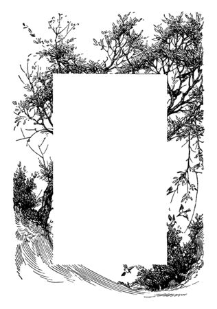 Tree leaning across the page with a couple birds in the bottom right corner of this pattern, vintage line drawing or engraving illustration.