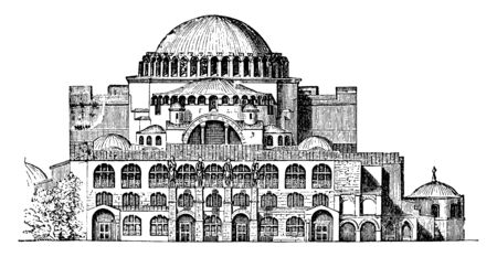 Exterior of Hagia Sophia, basilicas, produce, outlines, magnificent, imposing, vintage line drawing or engraving illustration.