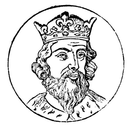 Alfred the Great, 849-899, he was the king of Wessex from 871 to 899, vintage line drawing or engraving illustration