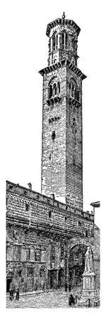 Campanile in the Palazzo del Signore in Verona Italy, element in its own right, forming part of the main building of the church, vintage line drawing or engraving illustration. Çizim