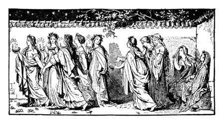 Five wise virgins are taking their lamps and five foolish virgins are without lamps. They are going to meet the bridegroom, vintage line drawing or engraving illustration.