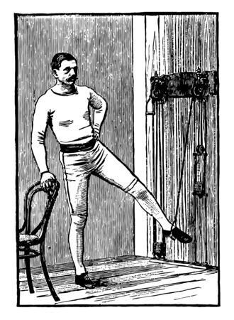 A man is exercising with chest weights. In this position, he hold chair with right hand & left hand keep on waist, he brings his left leg down to the floor & repeat it again, vintage line drawing or engraving illustration.