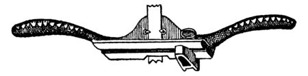 This illustration represents function of Universal Hand Beader, vintage line drawing or engraving illustration.