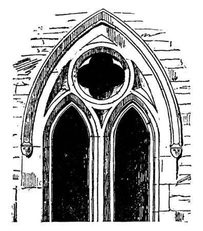 Plate Tracery, Charlton-on-Oxmore is progressive suppression of the lateral walls of vaulted structures, increase in the size of windows, suppression of the walls, and contributed greatly to the development of tracery, vintage line drawing or engraving illustration. Ilustrace