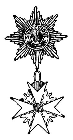 The Black Eagle is a military decoration of Europe, this decoration has two medals connected wth each other with a ring, upper medal has black eagle in centre and lower medal has eagle in each gap,vintage line drawing or engraving illustration