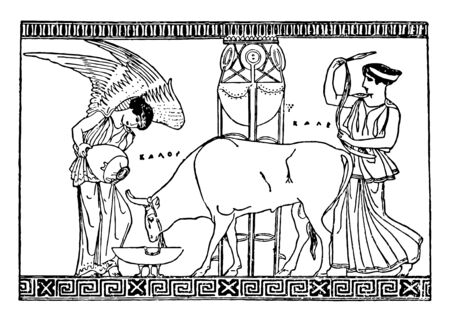 A picture of Nike feeding the bull. Nike is a Greek Goddess of Victory, vintage line drawing or engraving illustration. Banque d'images - 133022594