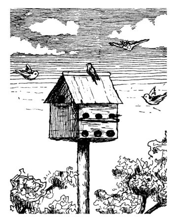 Bird House is a man made enclosure provided for animals to nest in, vintage line drawing or engraving illustration. Иллюстрация
