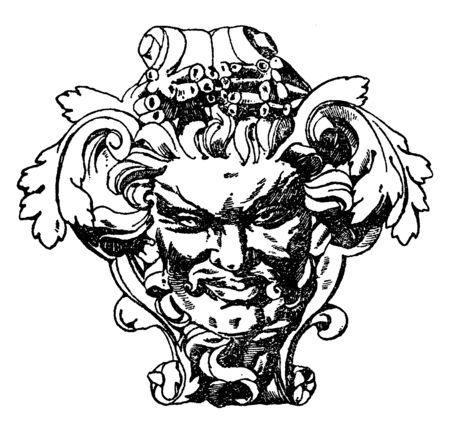 Modern French Grotesque Mask were used on carved furniture, vintage line drawing or engraving illustration.