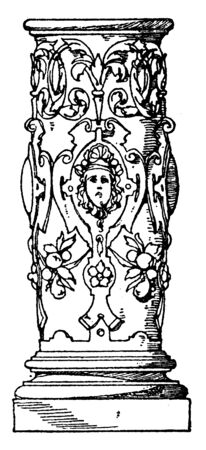 Lower Part of Column Profiled Shaft, cathedral, Germany, mayence, profiled, vintage line drawing or engraving illustration.