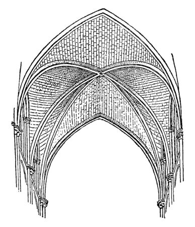 Sexpartite Vaulting are divided into six parts, construction now looked, cathedrals of Bourges, vintage line drawing or engraving illustration.