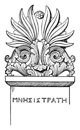 Stele-Crest is an upright tablet, vintage line drawing or engraving illustration.