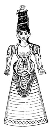 In this image The sculpture of an ancient Snake Goddess. The artifact demonstrates typical  Minoan female, vintage line drawing or engraving illustration. 矢量图像