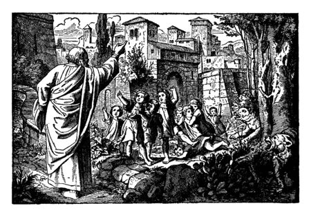 A picture of Elisha, Some rude boys and two bears. Elisha raised his right hand and curses those rude boys. Two bears can be seen attacking of those boys, vintage line drawing or engraving illustration.