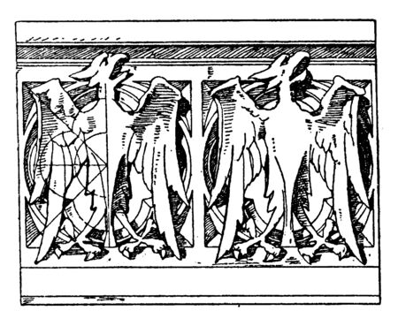 Modern Gothic Parapet is a stone design, continuation of a vertical feature, beneath the roof, vintage line drawing or engraving illustration. Ilustração