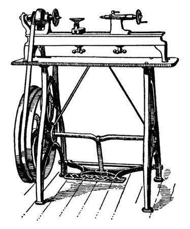 This illustration represents Foot power Wood working Lathe, vintage line drawing or engraving illustration.