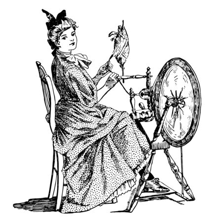 Spinning Wheel shall buzz and whirr, it is a device for spinning thread or yarn from natural or synthetic fibers, wheels were first used in India, vintage line drawing or engraving illustration.  イラスト・ベクター素材
