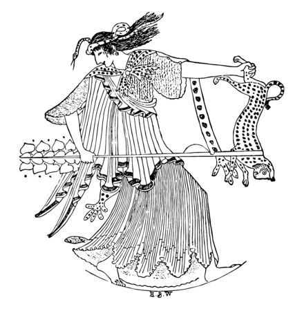 This is the picture of Maenads. They are the female followers of Dionysus, vintage line drawing or engraving illustration. Illustration