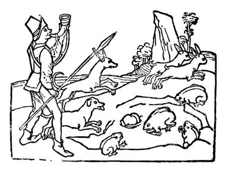 A man with his companion dogs is hunting the animals, vintage line drawing or engraving illustration. Stock Illustratie