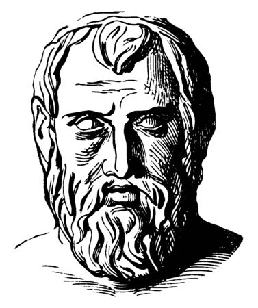 Aristophanes, he was a playwright of comedy, famous as the father of comedy, vintage line drawing or engraving illustration Çizim