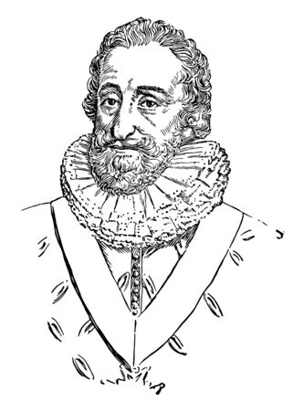 Henry IV of France, 1553-1610, he was the king of France from 1589 to 1610 and the first French monarch of the House of Bourbon, vintage line drawing or engraving illustration