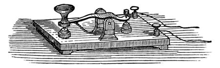 This illustration represents Morse Key which used primarily to send Morse code, vintage line drawing or engraving illustration. Illusztráció