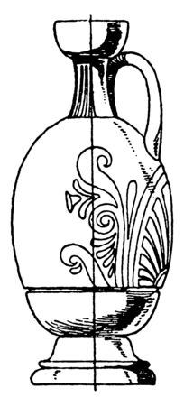 Greek Lekythos is elongated and cylindrical, it is more like a modern jug, vintage line drawing or engraving. Illusztráció