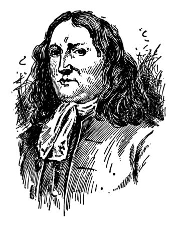 William Penn, 1644-1718, he was an English real estate entrepreneur, philosopher, and founder of the province of Pennsylvania, vintage line drawing or engraving illustration