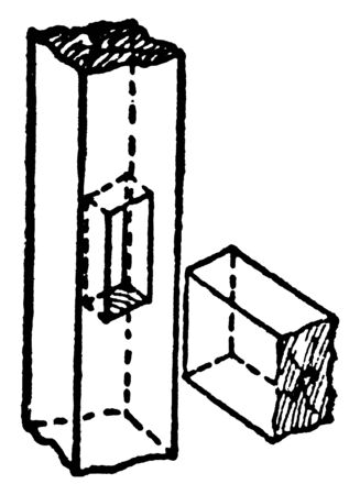 This illustration represents Housing Joint which is a useful structural joint, vintage line drawing or engraving illustration.