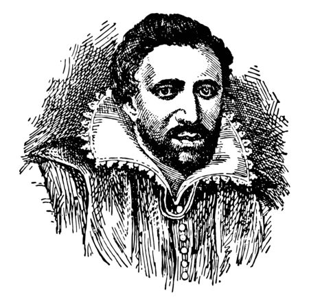 Ben Jonson, 1572-1637, he was an English playwright, poet, actor, and literary critic, famous for the satirical plays, vintage line drawing or engraving illustration