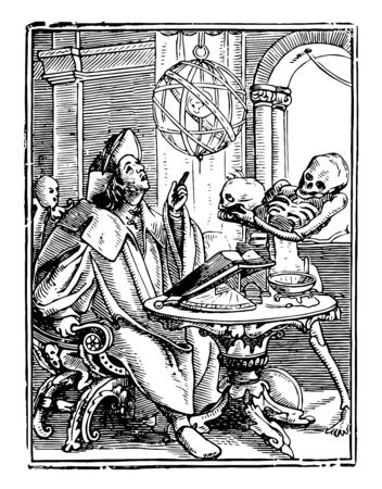 Dance of Death, The Astrologer from Hans Holbeins series of engravings, vintage line drawing or engraving illustration.