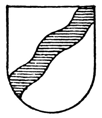 Argent Ordinary is a bend on the sinister left side, vintage line drawing or engraving illustration. Ilustração