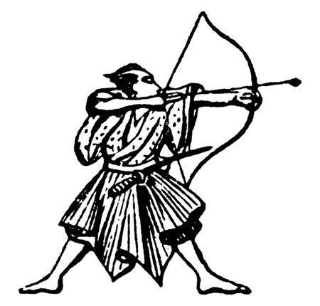 Archer is shooting towards the target in right direction, vintage line drawing or engraving illustration. Ilustracja