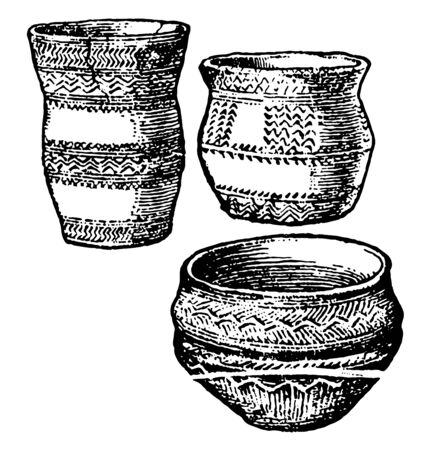 Bronze Age Pottery is a Not drawn to scale, it is a bronze pot, vintage line drawing or engraving illustration.