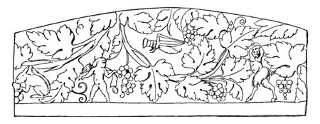 Scroll Ornament Vine is a Roman relief design, vintage line drawing or engraving illustration.