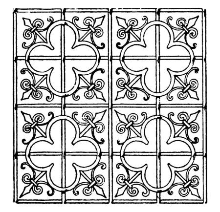 Late Gothic Pattern  is a 15th century choir screen, it is made out of wrought-iron, vintage line drawing or engraving illustration.