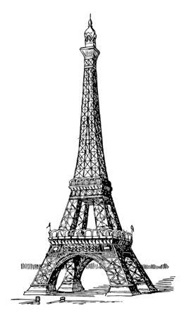 Eiffelturm steht 984 Fuß hoch, Spitze des Turms, zweithöchste Struktur, erste und zweite Ebene, Vintage-Linienzeichnung oder Gravurillustration.