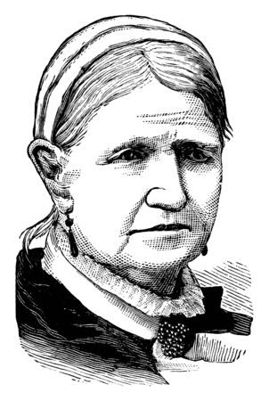 Mrs. Beecher, she was an United States author, vintage line drawing or engraving illustration