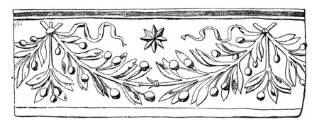 Tomb of Beatrice and Lavinia Ponzetti Festoon is a leaf festoon found in St. Maria della Pace, vintage line drawing or engraving illustration.
