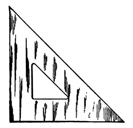 45 Degree Triangle is made of various substances, ratios of the sides of a right triangle, angle with compass and straightedge or ruler, vintage line drawing or engraving illustration.